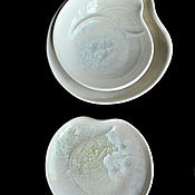 "Посуда handmade. Livemaster - original item Porcelain plates ""White Crystal"", small. Handmade."