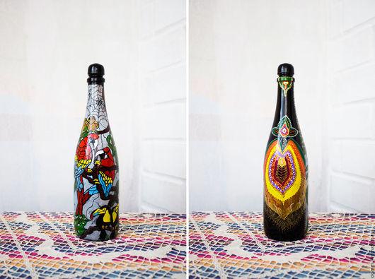 """Статуэтки ручной работы. Ярмарка Мастеров - ручная работа. Купить Декоративная бутылка """"Птичий рай"""". Handmade. Комбинированный, стекло в интерьере"""