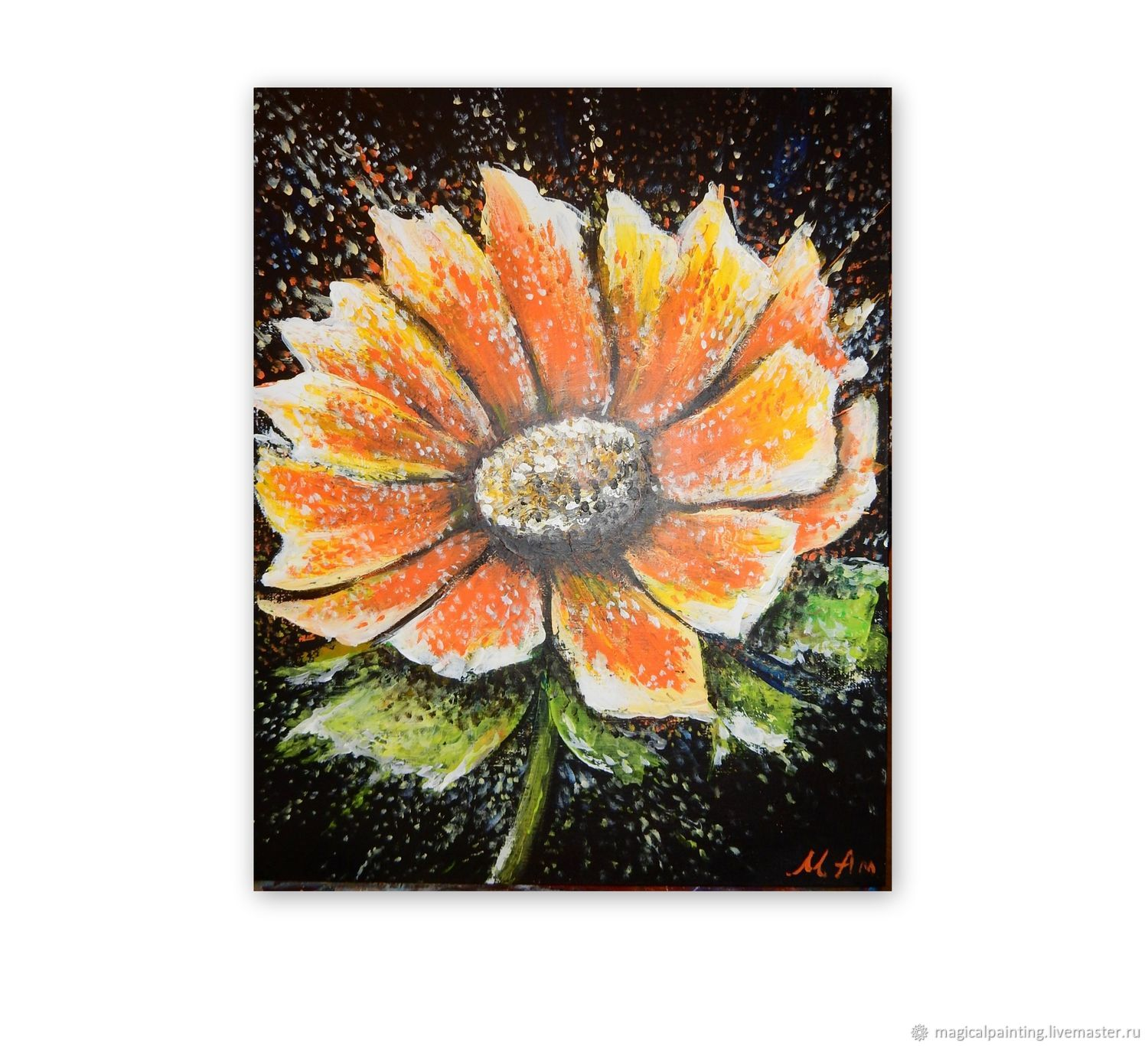 Palette knife painting ' Warm flower', Pictures, St. Petersburg,  Фото №1