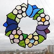 """Для дома и интерьера ручной работы. Ярмарка Мастеров - ручная работа """"Скоро лето"""" витраж на окно. Handmade."""