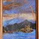 """Пейзаж ручной работы. Ярмарка Мастеров - ручная работа. Купить Картина из шерсти """"Морской пейзаж"""". Handmade. Разноцветный, картина из шерсти"""