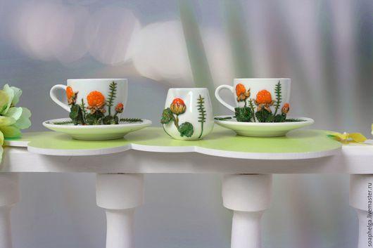 """Сервизы, чайные пары ручной работы. Ярмарка Мастеров - ручная работа. Купить Кофейный сервиз """"Морошка"""", декорированный полимерной глиной. Handmade."""