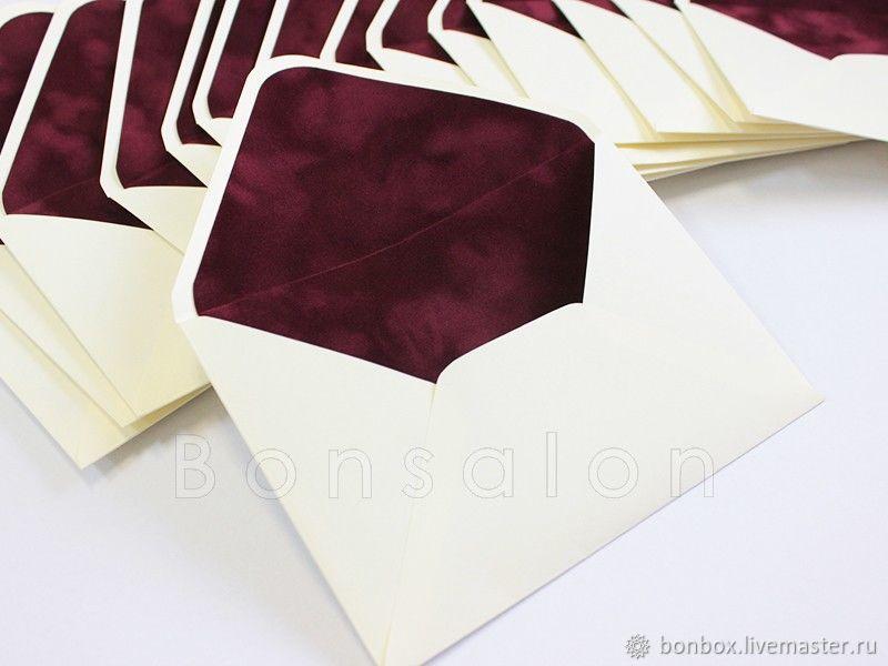 Конверт из дизайнерской бумаги с бархатной вкладкой, Открытки, Москва, Фото №1
