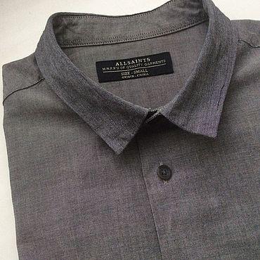Винтаж ручной работы. Ярмарка Мастеров - ручная работа Серая мужская рубашка, S размер. Handmade.