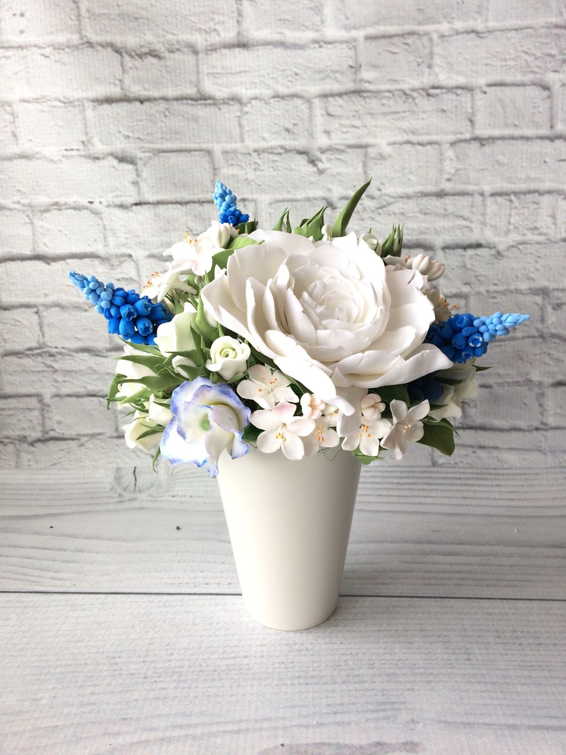 Bouquet with white and blue flowers, Composition, Voskresensk,  Фото №1