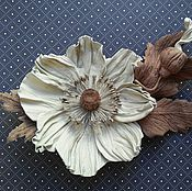 Украшения handmade. Livemaster - original item brooch poppy light beige leather. Handmade.