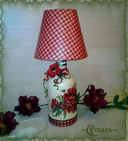 """Освещение ручной работы. Ярмарка Мастеров - ручная работа. Купить """"Маки"""" - настольный светильник  из бутылки. Handmade. Ярко-красный, свекрови"""