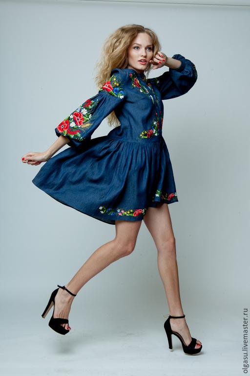 """Платья ручной работы. Ярмарка Мастеров - ручная работа. Купить Летнее джинсовое платье бохо """"Буйное цветение"""" ручная вышивка гладью. Handmade."""
