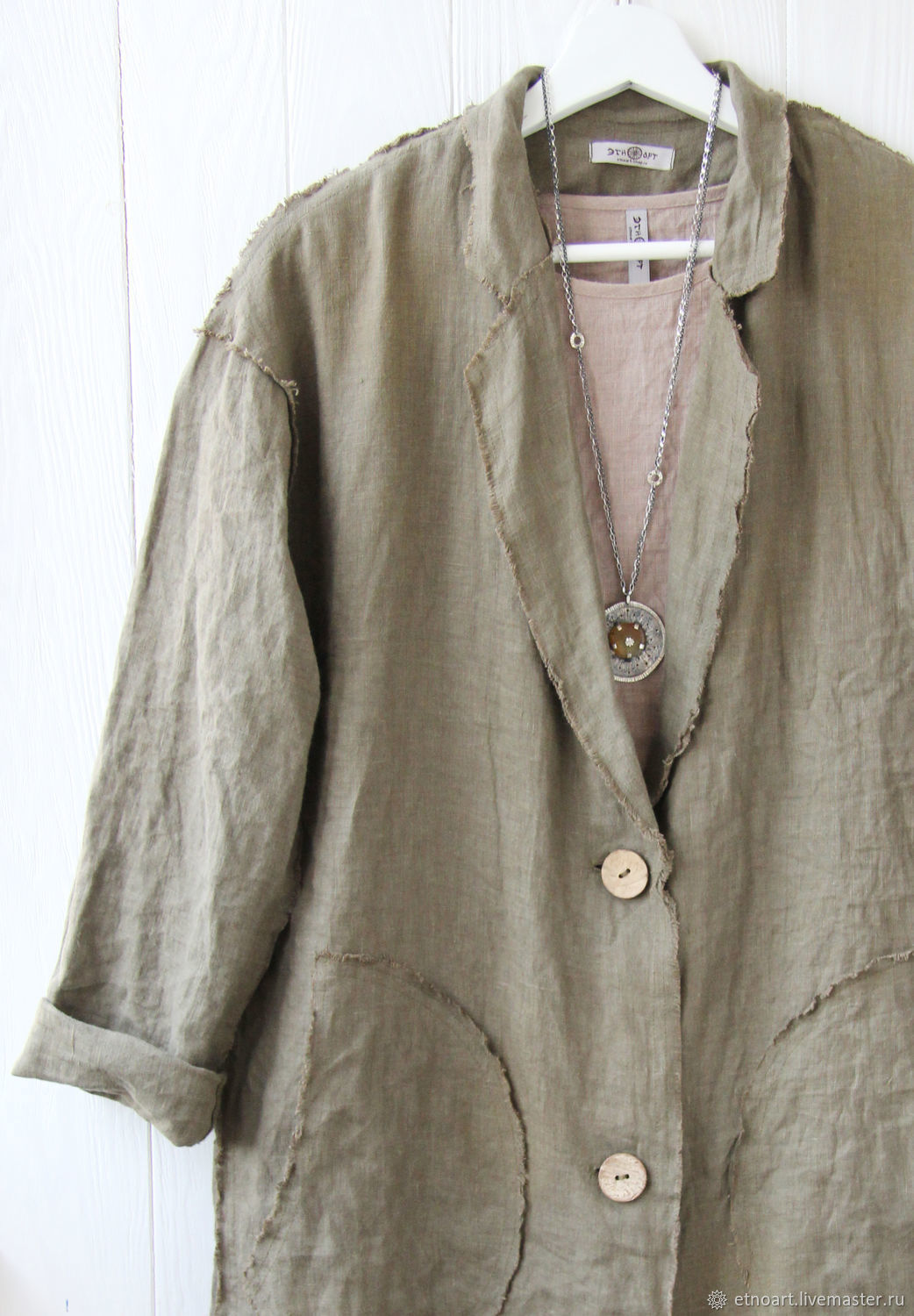Summer linen cardigan coat with open edges, Jackets, Tomsk,  Фото №1