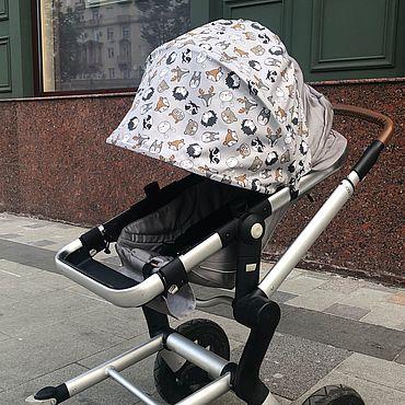 Товары для малышей ручной работы. Ярмарка Мастеров - ручная работа Козырек для коляски «Зверята» универсальный. Handmade.