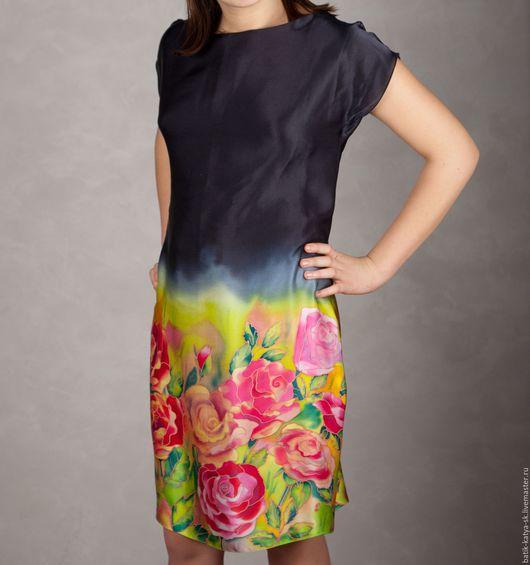 """Платья ручной работы. Ярмарка Мастеров - ручная работа. Купить Батик платье """"Восхитительные розы"""". Handmade. Комбинированный, одежда батик"""