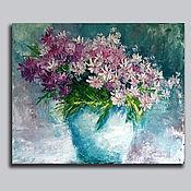 """Картины и панно handmade. Livemaster - original item oil painting """"Bouquet of pink daisies"""". Handmade."""
