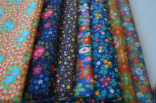 """Шитье ручной работы. Ярмарка Мастеров - ручная работа. Купить Набор тканей  для пэчворка  хлопок 100 % """" Разные цветы"""". Handmade."""