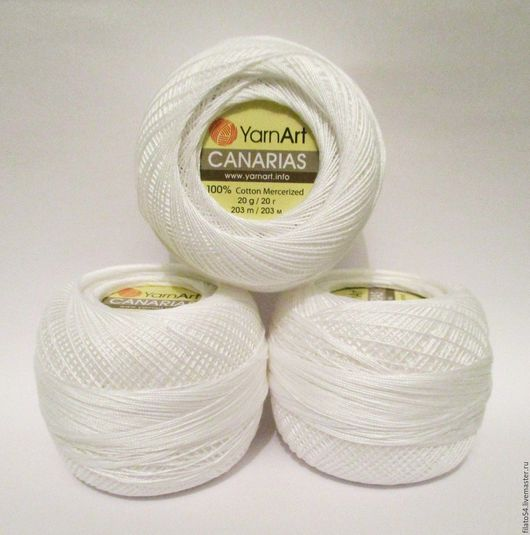 Canarias Yarn Art Турция  color 0000 Белый  пряжа Канарис ярнарт - тонкая хлопковая пряжа для ирландского кружева, фриволите, вышивки в технике хардангер.
