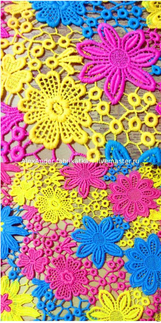 """Шитье ручной работы. Ярмарка Мастеров - ручная работа. Купить Многоцветный гипюр. """"Цветы"""". Handmade. Ткань для шитья, эксклюзив"""