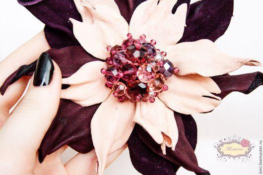 """Броши ручной работы. Ярмарка Мастеров - ручная работа. Купить Брошь """"Розово-сливовая фантазия"""". Handmade. Комбинированный, кристаллы"""