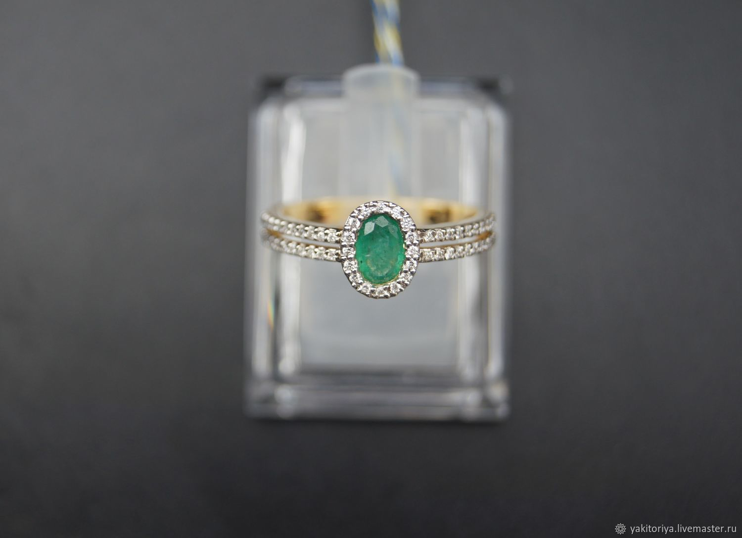 585 gold ring with emerald and diamonds, Rings, Moscow,  Фото №1
