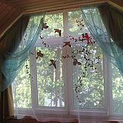 """Для дома и интерьера ручной работы. Ярмарка Мастеров - ручная работа Вышивка на шторе """"Птицы"""". Handmade."""