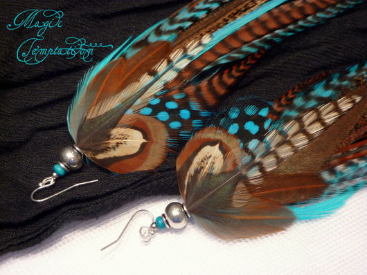 Серьги ручной работы. Ярмарка Мастеров - ручная работа. Купить Коричнево-голубые серьги из перьев петуха и фазана. Handmade. Голубой