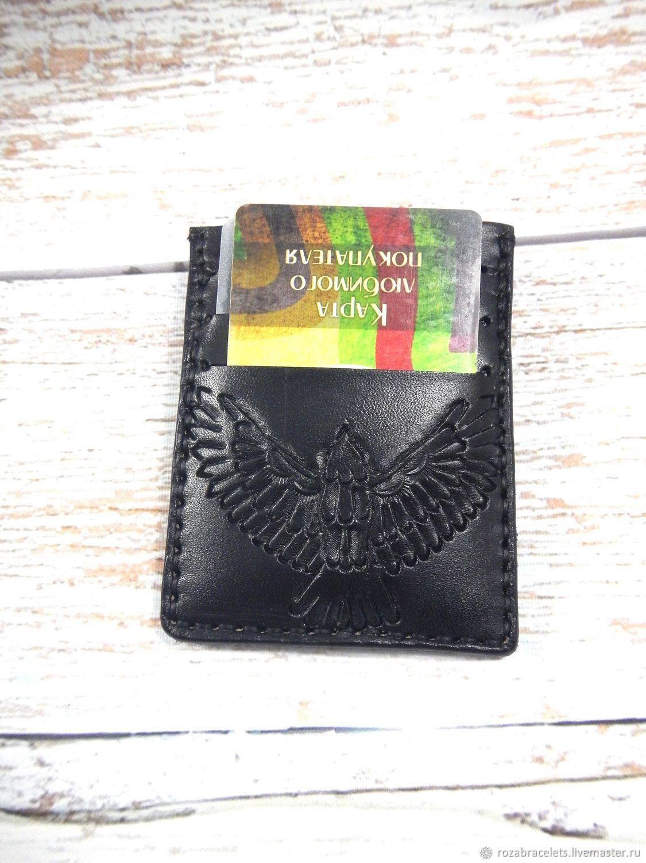 Image-of-wallet embossed leather Raven, Cardholder, Ulyanovsk,  Фото №1