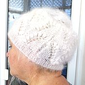 Аксессуары handmade. Livemaster - original item Beanie hat women White crochet hat White a sock cap Goat down Woolly. Handmade.