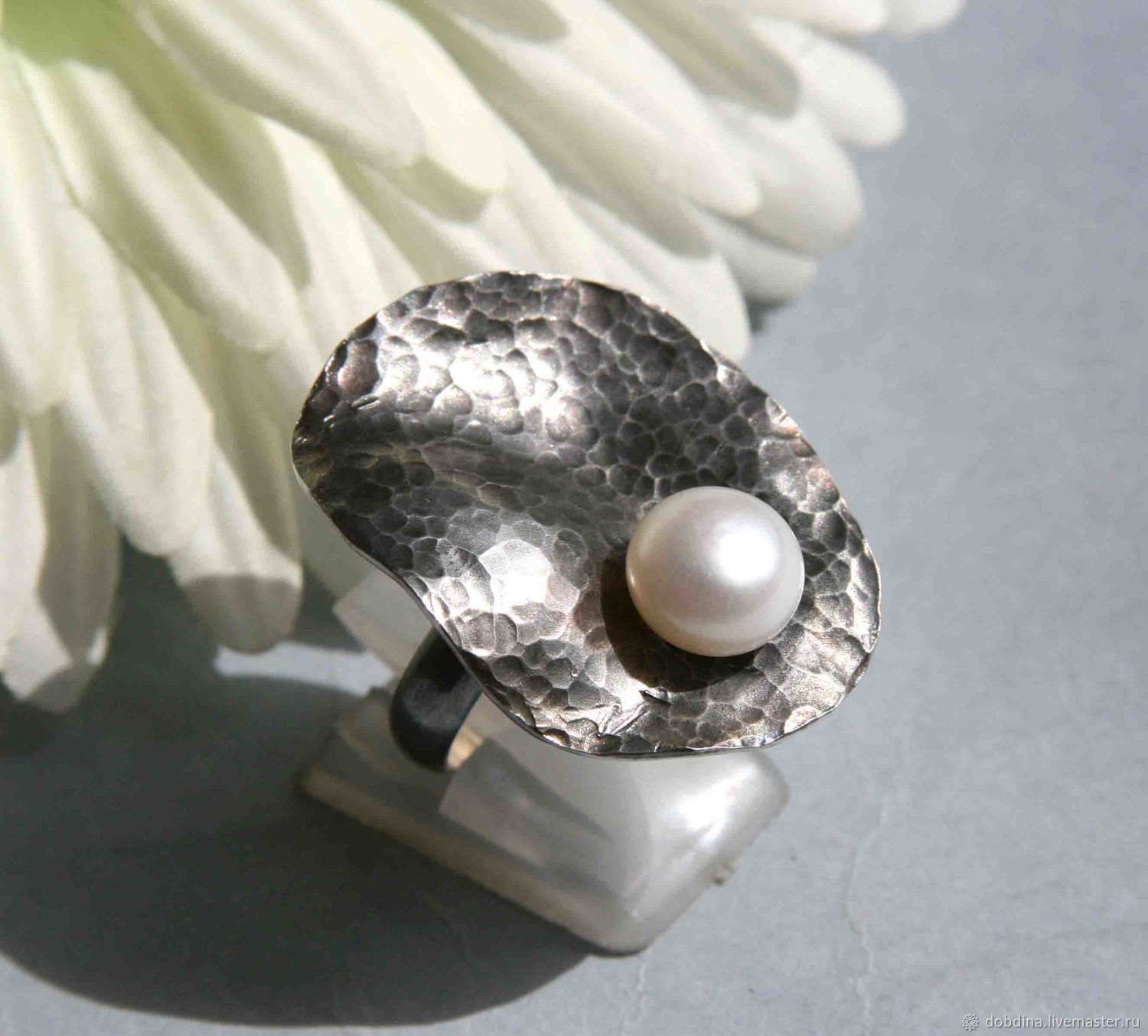Ring with pearls. Silver, Rings, Moscow,  Фото №1