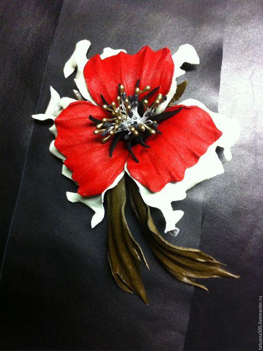 """Цветы ручной работы. Ярмарка Мастеров - ручная работа. Купить Цветок из кожи . Брошь,,Камета """".. Handmade. Комбинированный, эксклюзив"""