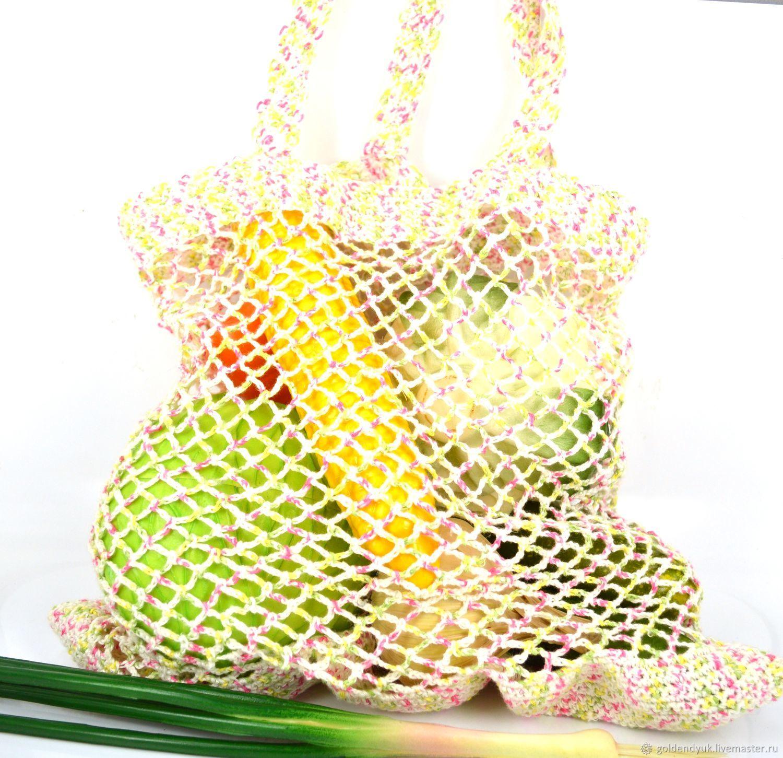 Сумка-авоська, связанная из льна
