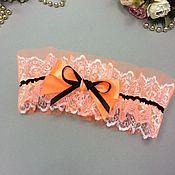 Одежда ручной работы. Ярмарка Мастеров - ручная работа Подвязка из кружева оранжкевая. Handmade.