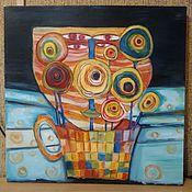 Картины и панно ручной работы. Ярмарка Мастеров - ручная работа подражание Хундертвассеру. Handmade.