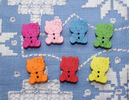 Шитье ручной работы. Ярмарка Мастеров - ручная работа. Купить Пуговицы цветные котики. Handmade. Разноцветный, пуговицы, котики, кошка