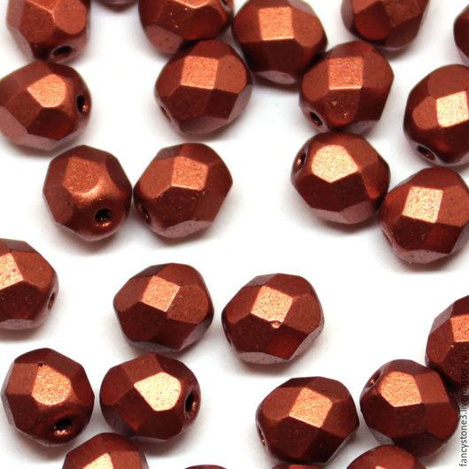 Для украшений ручной работы. Ярмарка Мастеров - ручная работа. Купить 30шт 6мм Чешские граненые бусины Матовая медь Fire polished beads. Handmade.