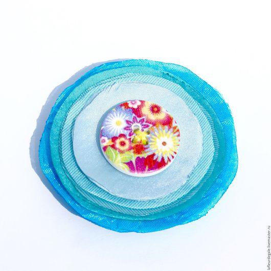 """Броши ручной работы. Ярмарка Мастеров - ручная работа. Купить Небесно-голубая Натэя-Батн (""""Heaven-blue Nateya-Button""""). Handmade."""
