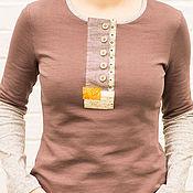 Одежда ручной работы. Ярмарка Мастеров - ручная работа Трикотажная кофта из хлопка цвета кофе с молоком. Handmade.