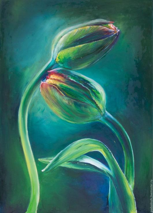Картины цветов ручной работы. Ярмарка Мастеров - ручная работа. Купить Нежность. Handmade. Тюльпаны, картина, картина на холсте, зелень