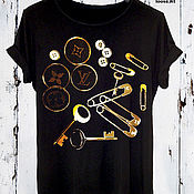 Одежда handmade. Livemaster - original item Black cotton print t-shirt - TEE10029CT. Handmade.