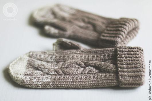 Варежки, митенки, перчатки ручной работы. Ярмарка Мастеров - ручная работа. Купить Варежки норковые бежевые. Handmade. Бежевый, меланж