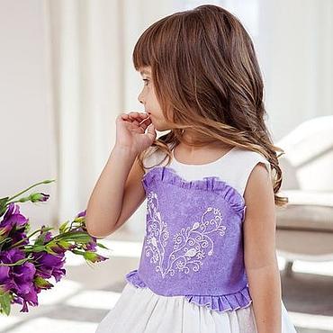 Работы для детей, ручной работы. Ярмарка Мастеров - ручная работа Очарование сирени. Нярядное пышное платье с ручной вышивкой для девочк. Handmade.