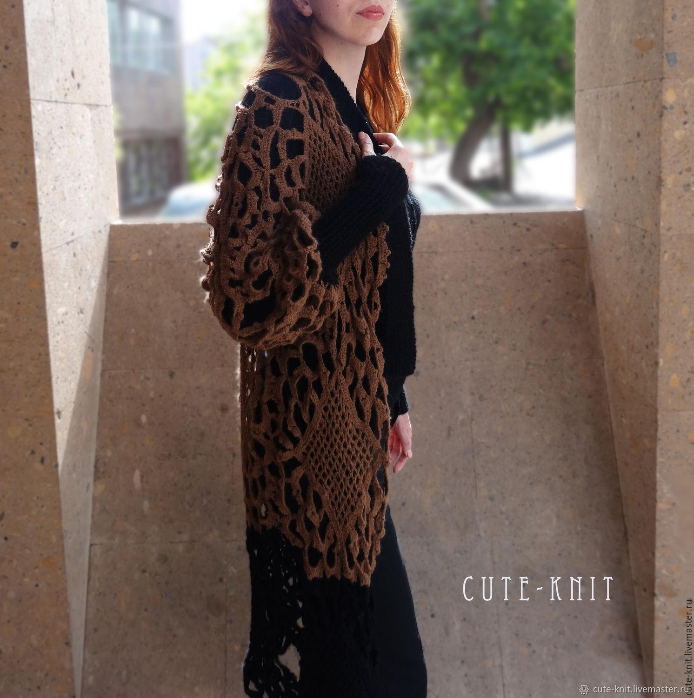 """Вязаный кардиган ажурный """"Черный кофе с шоколадом"""", Cardigans, Yerevan,  Фото №1"""