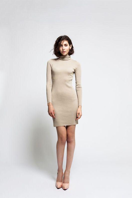 Платья ручной работы. Ярмарка Мастеров - ручная работа. Купить Платье-водолазка. Handmade. Бежевый, минималистичное платье, стильное платье
