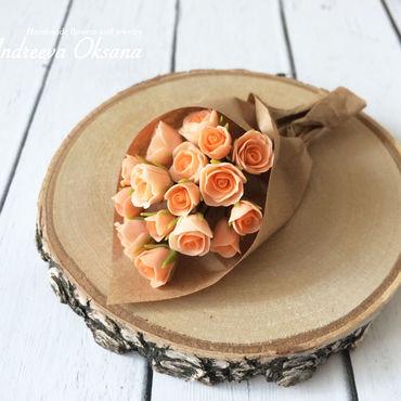 """Куклы и игрушки ручной работы. Ярмарка Мастеров - ручная работа """"Розы персиковые"""" Цветы для кукол Миниатюра из полимерной глины. Handmade."""