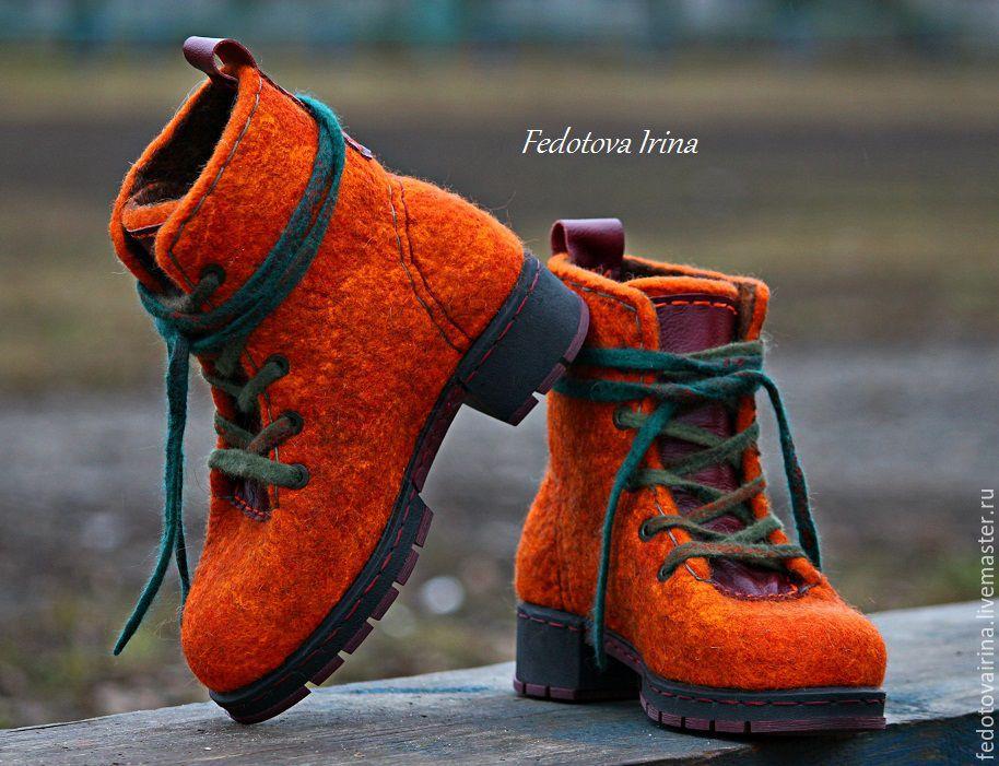 """Обувь ручной работы. Ярмарка Мастеров - ручная работа. Купить Ботинки войлочные """"Тициана"""". Handmade. Зеленый, современный стиль"""