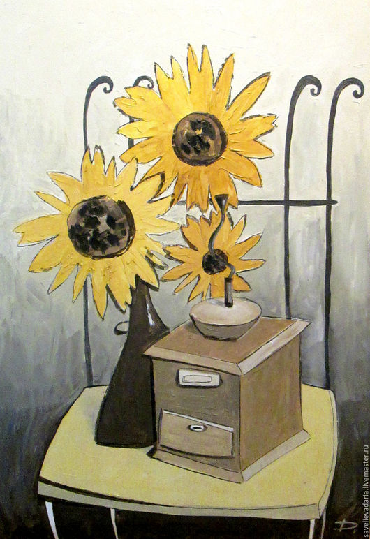 """Натюрморт ручной работы. Ярмарка Мастеров - ручная работа. Купить Картина маслом """"Кофе для твоих цветов"""". Handmade. Комбинированный, букет"""