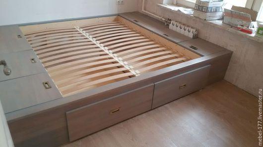 Мебель ручной работы. Ярмарка Мастеров - ручная работа. Купить Кровать подиум. Handmade. Серый, Мебель, столяр, мебель на заказ