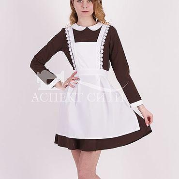 Товары для малышей ручной работы. Ярмарка Мастеров - ручная работа Комплект для последнего звонка, 14-437к коричневое платье, белый фарту. Handmade.