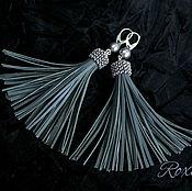 Украшения handmade. Livemaster - original item Pigeon wing - earrings tassels genuine leather and pearls. Handmade.