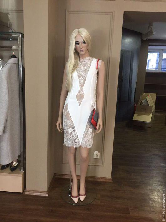 Платья ручной работы. Ярмарка Мастеров - ручная работа. Купить Сексуальное Платье из белого шёлка с кружевом. Handmade. Белый
