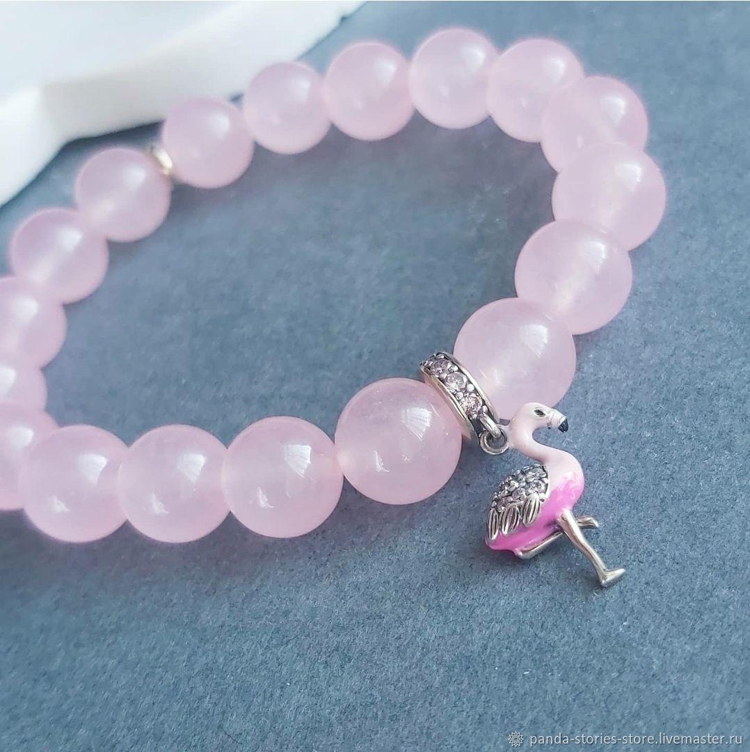 Pink flamingo bracelet, chalcedony, silver, Bead bracelet, Moscow,  Фото №1