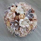 Свадебный салон handmade. Livemaster - original item Wedding brooch bouquet in cream and natural rustic style. Handmade.