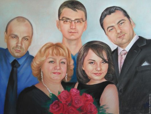Люди, ручной работы. Ярмарка Мастеров - ручная работа. Купить семейный портрет на заказ. Handmade. Комбинированный, портрет в подарок